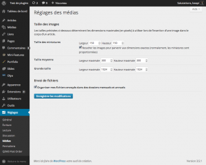 Réglages des médias ‹ Test de plugins — WordPress