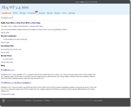 WP 2.4 › Dashboard — WordPress 2.4